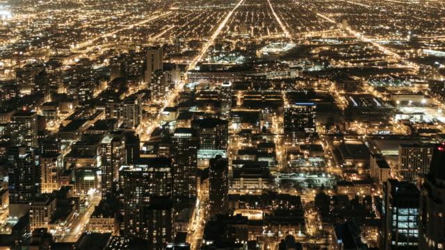 t/l ha pan chicago skyline at night - continente americano video stock e b–roll