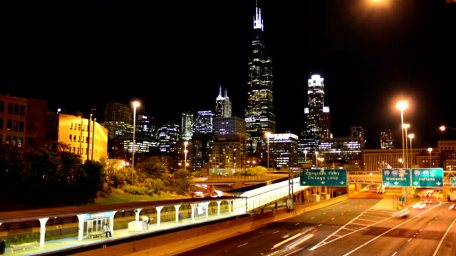 Chicago Skyline at Night video