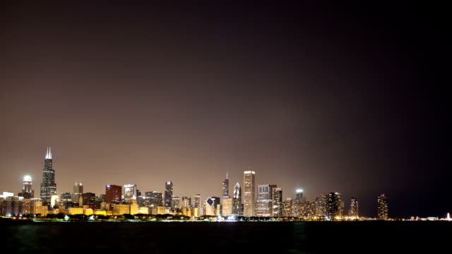 Chicago skyline at night wide video