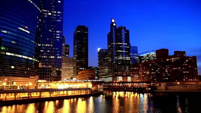 HD: Chicago Skyline Cityscape along the river USA video
