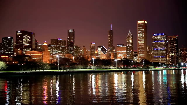 HD: Chicago Skyline Cityscape at night USA video