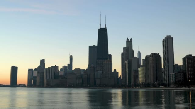 Chicago Skyline Sunrise 4k video