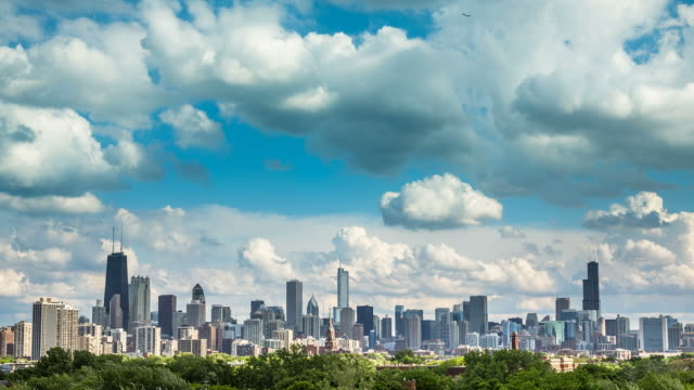Chicago Skyline Time lapse with blue sky and cloud Dynamic video