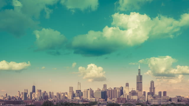 Chicago Skyline vintage Time lapse with blue sky and cloud Dynamic video