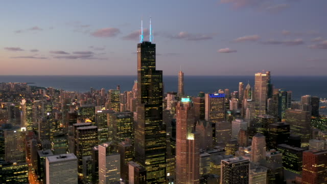 Chicago South Loop From Above - Twilight Aerial View of Chicago at Dusk - 2019 chicago stock videos & royalty-free footage