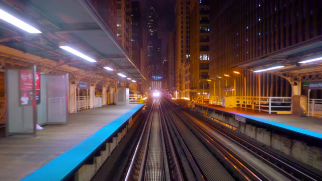 Chicago Subway Cart Coming to the Station. Trump Building. Concept Chicago Cityscape chicago stock videos & royalty-free footage