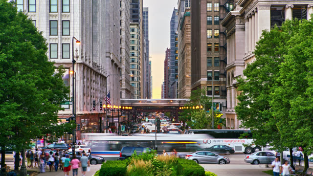 Chicago. Washington Street Cityscape chicago stock videos & royalty-free footage