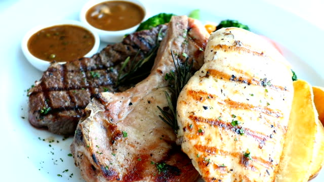 Chicken breast and Pork chop with beef meat steak and vegetable video