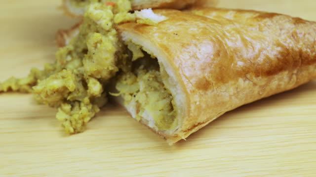 Chicken curry filled pie