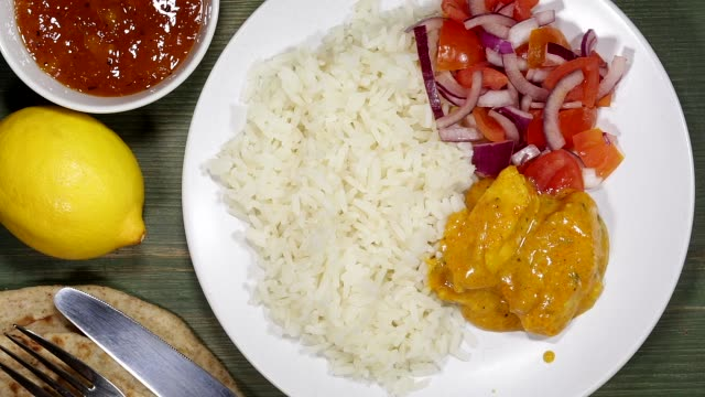 Chicken Curry With Rice And Naan Bread video