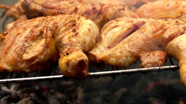 Chicken legs roasted on the grill video
