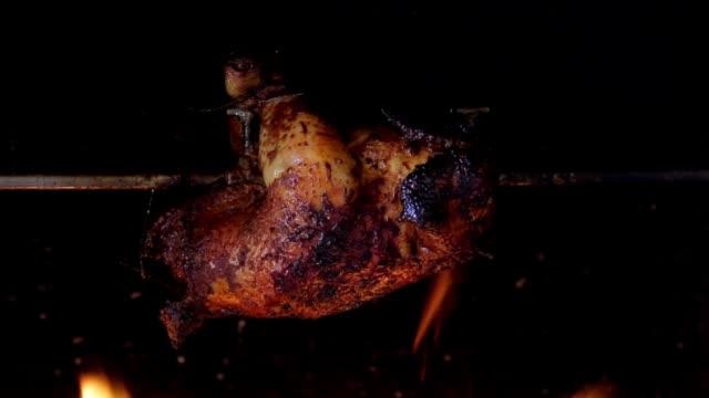 chicken roasted on a spit chicken roasted on a spit roast dinner stock videos & royalty-free footage