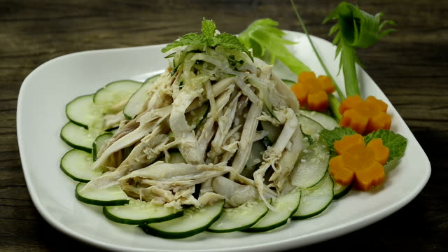 Chicken Salad with Cucumber and white Sesame Japanese Food Style