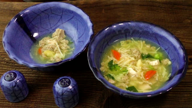 Chicken soup with pasta and vegetables video