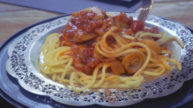 Chicken spaghetti with tomato sauce Chicken spaghetti with tomato sauce spoon stock videos & royalty-free footage