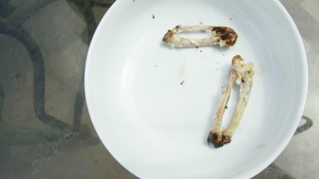 kyckling wing bones falla på en tallrik efter att ha berövats sitt kött - tallrik uppätet bildbanksvideor och videomaterial från bakom kulisserna