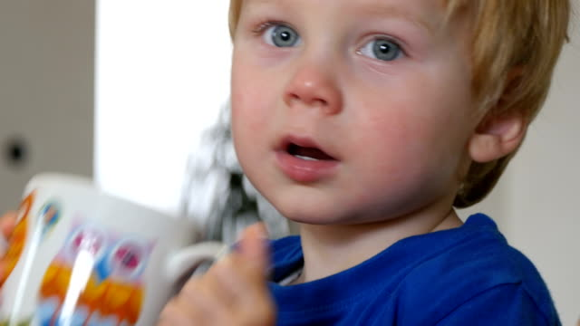 child boy drinks from a cup - cioccolata calda video stock e b–roll