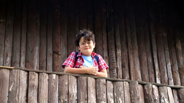 Child boy in a balcony of a wooden house video