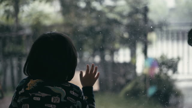 Child Boy look raining in the house. video
