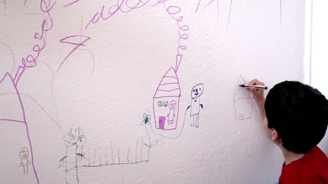 child drawing wall - drawing activity stock videos & royalty-free footage