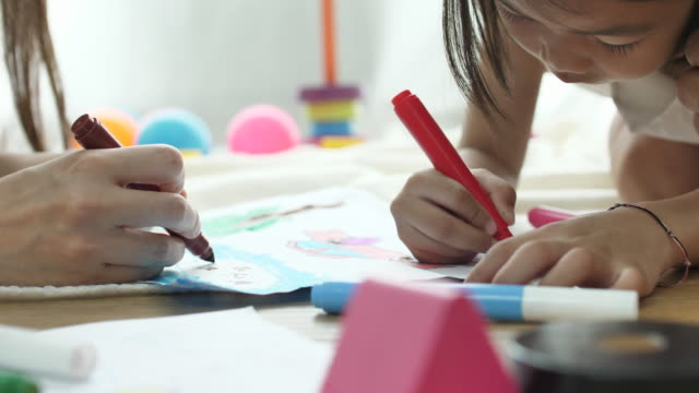 Child Drawing with mother, Family video