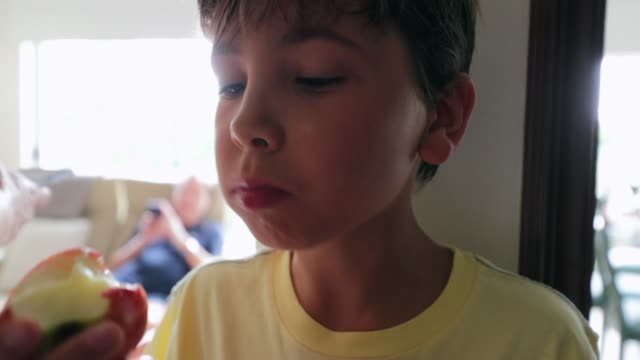 child eating apple. casual candid clip of handsome young boy eating fruit indoors - pesche bambino video stock e b–roll