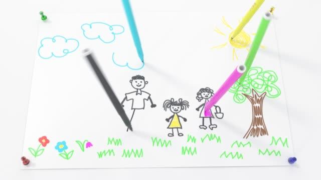 child felt tip pen drawing family timelapse