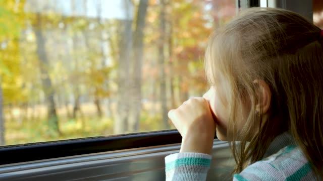 child girl looks out window of train in carriage during journey - wagon kolejowy filmów i materiałów b-roll