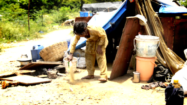 Child labour Rural Girl Sweeping poverty stock videos & royalty-free footage