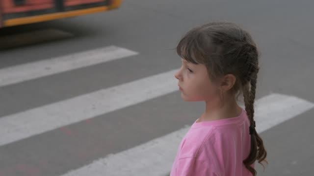 stockvideo's en b-roll-footage met kind op zebrakruising. - oversteekplaats