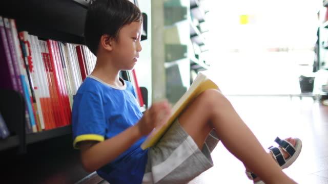 vídeos de stock, filmes e b-roll de criança lendo um livro na biblioteca - salas de aula