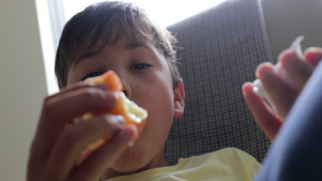 child relaxing while eating apple in 4k - pesche bambino video stock e b–roll