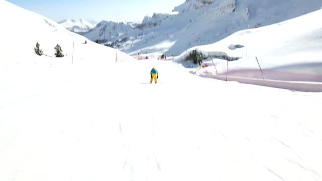 HD Child skier on slope of ski resort video