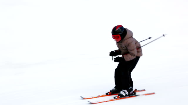 HD Child skier on slope video