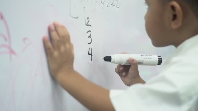 Child writing mathematics on a board