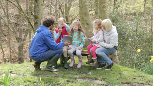 Children At Outdoor Activity Centre Using Digital tablet video