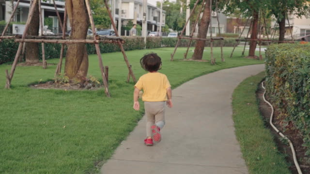 Children boy walking in the park video