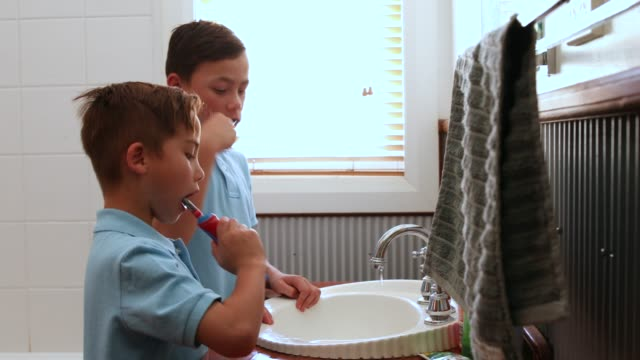 Children Brushing Teeth Before School video