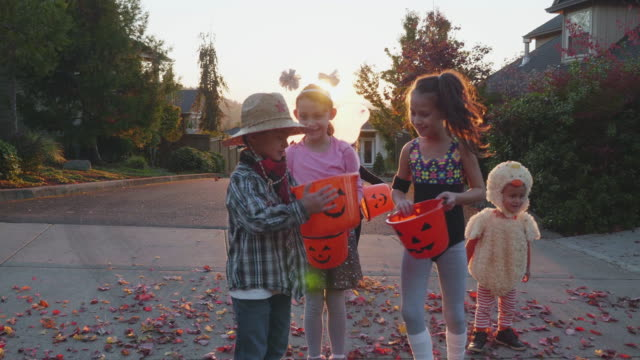 children comparing buckets of candy for halloween - halloween video stock e b–roll