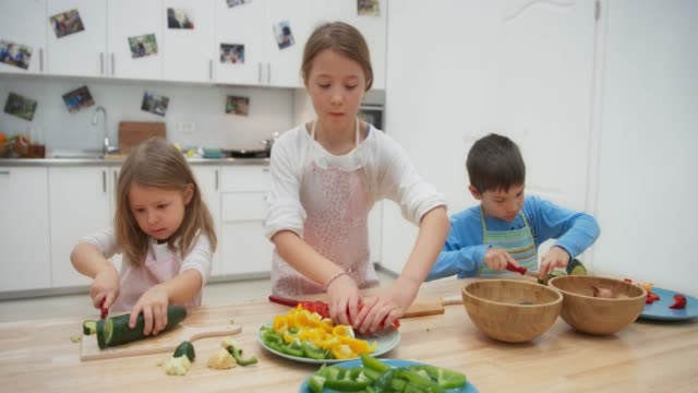 DS Children cutting vegetables at a long table