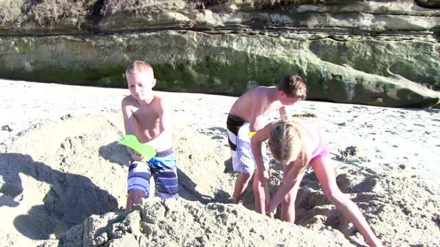 Children digging in sand at beach video