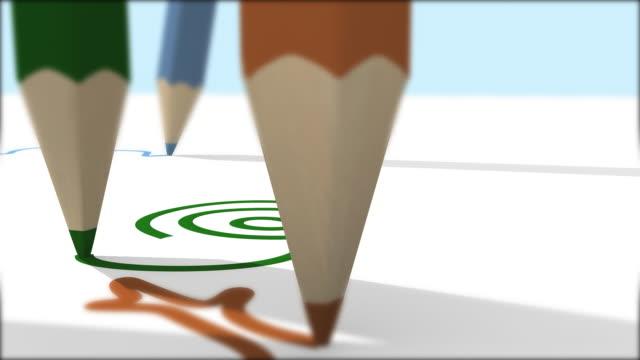Children draw close up at school video