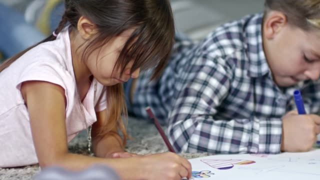 Children Drawing Picture Together video