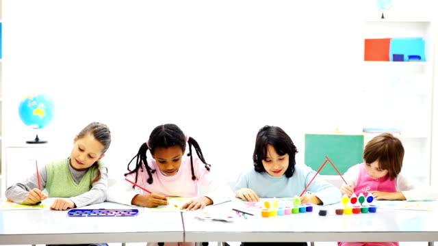 Children drawing . video
