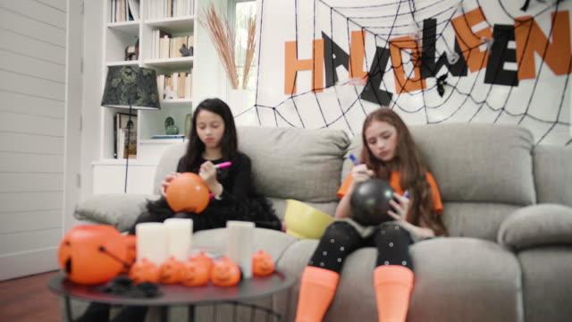 Children enjoy Halloween party.