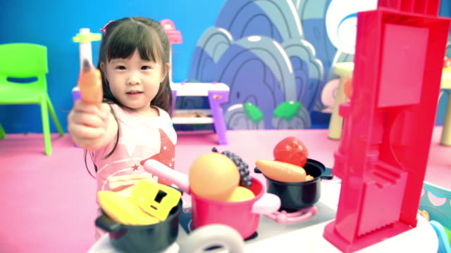 Children girl playing toy video