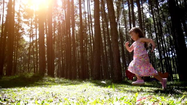 stockvideo's en b-roll-footage met kinderen meisje uitgevoerd in dennenbos, slow-motion shot - sober leven