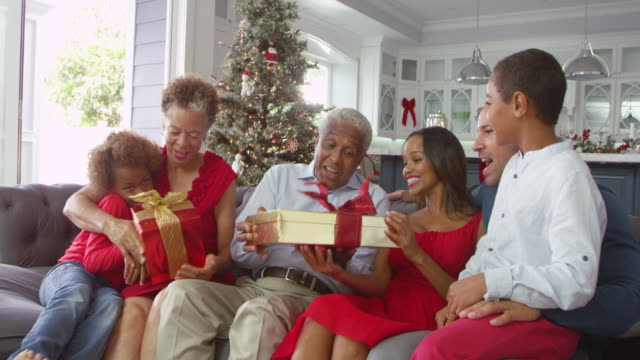 Children Give Christmas Gift To Grandparents Shot On R3D video