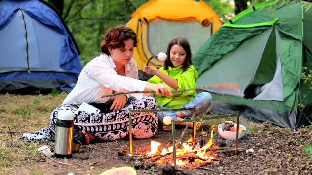 Children in the evening in the forest at the fire roasting marshmallows. video