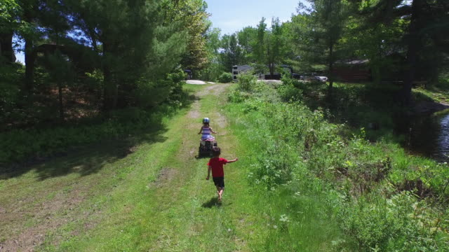 Children on an RV camping trip video